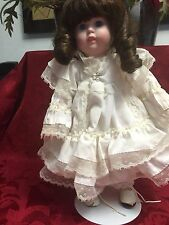 vintage porcelain doll with stand in white dress price products bellmawr nj 13.5