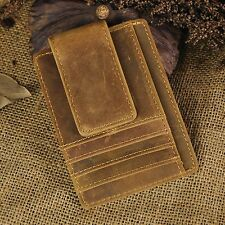 Cowhide leather Money Clip ID Credit Card Case Holder Front Pocket Slim Wallet