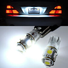 2 x HID White 360° T10-5050-5SMD 168 194 2825 LED Bulbs For License Plate Lights