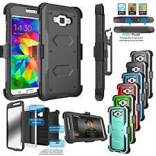 Armor Phone Cover + Belt Clip Holster Hard Case For Samsung Galaxy Grand Prime