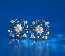 14k Yellow and White Gold Flower Stud Earrings with Cz