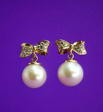 14k yellow white gold bow tie pearl cz stud earring freshwater
