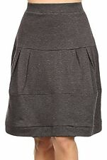 Avital Pull On Tiered Aline Skirt Womens Knee Length Gray Elastic Waist Stretch