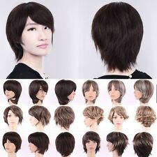 Brown Blonde Full Wigs Short Straight Boycut Pixie Synthetic Hair Costume Wig US