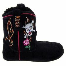 Cowboy Kickers Women Slippers Booties Skull and Roses Print Polyester Size: XL
