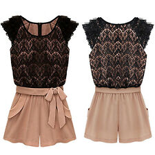 Women's Korean Style One-piece Pants Lace Top Jumpsuit Belt Shorts Stylish
