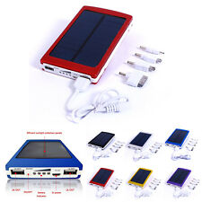 10000mAh USB Solar Power Panel External Mobile Battery Charger Dual Power Bank