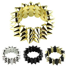 Punk Fashion Simple Style Spike Stud Rivet Elastic Stretch Chain Bangle Bracelet