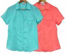 Ladies New Lightweight Blouse Button Down Shirt Womens Collared Casual Work Top