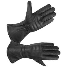 Mens Water Resistant Deerskin Leather Motorcycle Gauntlet Gloves with Padded Pal