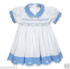 "AURORA ROYAL WHITE&BLUE HAND SMOCKED PIQUE COTTON ""BIANCA"" LINED DRESS"