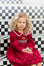 "AURORA ROYAL BURGUNDY PIQUE COTTON HAND SMOCKED LONGSLEEVED ""ANNA"" DRESS"