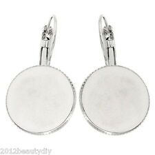 "Wholesale Earring Hook Findings Cabochon Setting Round Silver Tone 1 2/8""x 6/8"""