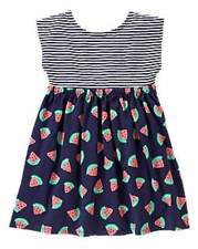 NWT Gymboree Girls Hop N Roll Striped Navy Watermelon Dress Size 4T & 5T