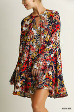 Umgee Dress Size S M L Boho Floral Print Bell Sleeve Peasant Tunic Hippie NAVY