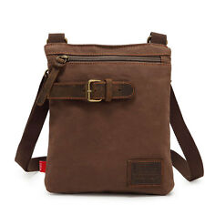Men's Vintage Canvas Leather Shoulder Military Messenger School Bag Satchel