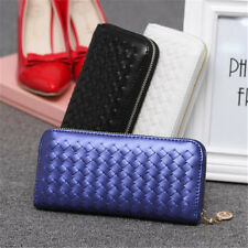Lady Women's Leather Weave Clutch Wallet Long Card Holder Purse Handbag US Ship