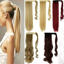 US 100% Real Thick New Clip In Hair Extension Pony Tail Wrap Around Ponytail lk