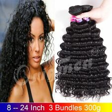 Deep Wave Brazilian Hair Virgin Hair Deep Wave Human Hair Weft 3 Bundles 300g