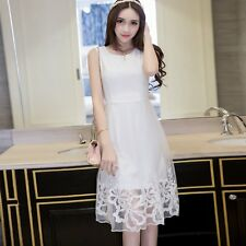 Fashion Ladies Lace Floral Embroidery Dress Sweety Girl Summer Beach Sundress