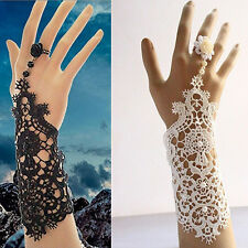 Wedding Bride Women Exquisite Faux Pearl Lace Bracelet with Ring Jewelry Dreamed
