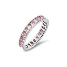 3mm Pink Cubic Zirconia .925 Sterling Silver CZ Ring  RCAOEOFH-PK 4 5 6 7 8 9 10