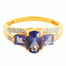 IOLITE 1.61 CT NATURAL GEMSTONE DIAMOND RING  IN 14 KT YELLOW GOLD