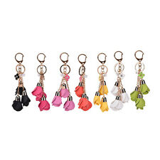 PU Leather Flowers Keyring Charm Pendant Purse Bag Key Ring Chain Keychain Gift