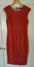 Worn Once £120 French Connection Size 10 12 Red Lace Floral Pencil Wiggle Dress