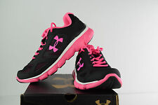 Under Armour Girls UA GGS Assert V Shoes Sneakers- Black/Pink- NEW