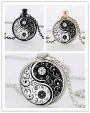 Yin Yang Alloy Pendant Necklace Cabochon Silver Chain Flower Tibet Glass New