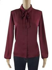 New Ex M&S Satin Pussy Bow Tie Neck Blouse Burgundy Size 10-22 Shirt Top RRP:£35