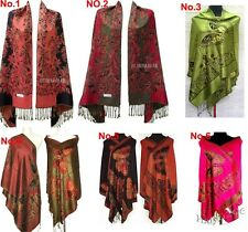 Hot 6 colour Double-Faced Chinese Women Pashmina Silk Wrap Shawl Scarf Butterfly