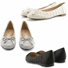 NEW LADIES QUILTED CASUAL LACE DETAIL FLAT BALLET DOLLY BALLERINA PUMPS SHOES UK