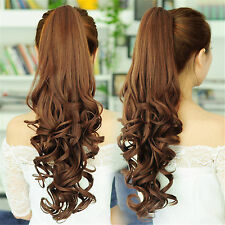 Fashion Clips on Long Ponytails Hair Extensions Flaxen Curly Ponytail Hair Piece