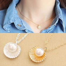 Women Elegant Faux Pearl Shell Charm Polished Necklace Fashion Jewelry Superior