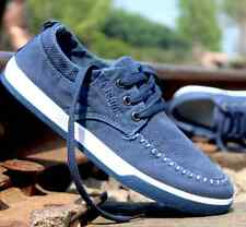 Cowboy Flat Canvas Driving Moccasin Casual Slip on Sneakers Denim Men's Shoes