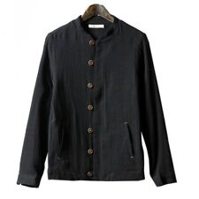 Stand Collar Jacket Flax Coat Slim Man Cloth  black