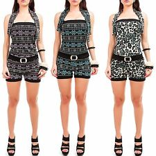Ladies Summer Overalls Bandeau Jumpsuit Playsuit with Aztec pattern Shorts NEW
