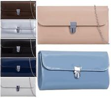 LADIES FAUX LEATHER FOLD OVER PARTY PROM FASHION CLUTCH BAGS