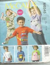MCCALLS  6545 GIRLS BOYS TOPS AND APPLIQUES SEWING PATTERN