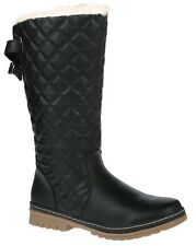LADIES WOMENS QUILTED MID CALF BOOTS GRIP THICK SOLE FAUX FUR LINED SHOES SZ 3-9