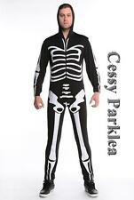 Mr Bones Jangle Skeleton Zombie Jumpsuit Halleween Fancy Dress Costume