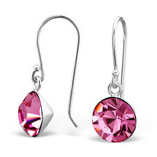 Women,Girls 925 Sterling Silver Round Earrimgs with Crystal-Gift Boxed