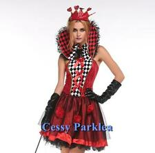 Black & Red Roses Queen Alice in Wonderland Queen of Heart Costume