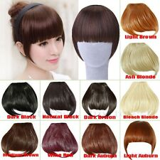 Fast Post Long Side Bang Clip in on Fringe Hair Extensions Front Neat Bangs tf6