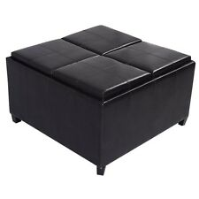 Modern 4 Tray Top Storage Ottoman Table Bench PU Leather