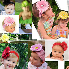 14 colors Summer Cute Baby Girl Woman Crochet Headband Hair with Daisy Flower m6