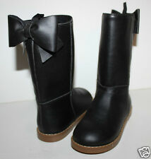 baby Gap NWT Girl's 7 Faux Leather Black Riding Boots w/ Bow at Back