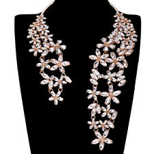 New Crystal Glass Rhinestone Pendant Chunky Statement Choker Bib Party Necklace